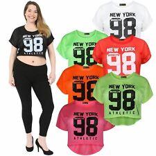 Womens Fluorescent High Low Air Tech Brookyln Newyork 98 Number Print Tops 8-14