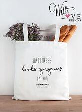 Felicità splendido su di voi citare tote shopper shopping bag personalizzata