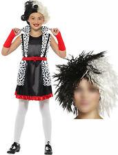 Evil cruel Dog Dalmatian lady madame Fancy Dress Costume BOOK DAY WEEK wig 4-12