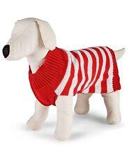 Family Pajamas Dog Pet Sweater, Red/White Stripe, Medium