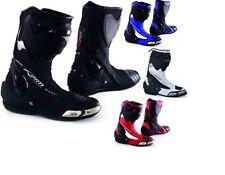 Bottes Racing Cuir Vachette Zip Renforts Chaussures Moto Motard Piste NO Sidi