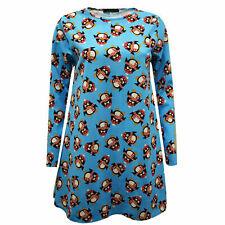 Ladies Kids Girls Penguin Print Blue Skater Swing Dress Christmas Novelty