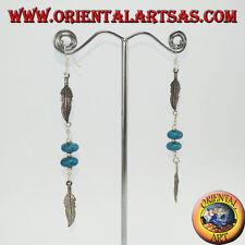 Orecchini in argento 925 dei  nativi 2 piume con 2 turchesi