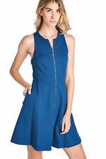 TRINA TURK WOMENS DRESS SPRING SUMMER DAY CASUAL DRESS SLEEVELESS ZIPPERED BLUE