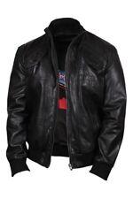 Brandslock Mens Leather Bomber Slim Fit Jacket Genuine Lamb Skin