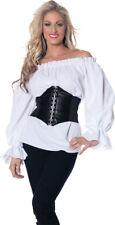 Renaissance Long Sleeve White Blouse Shirt Gypsy Pirate Peasant Adult Women Top