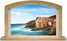 Sticker Trompe L'oeil Adesivo Finestra sul mare delle Cinque Terre, Riomaggiore