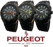 Peugeot Men Water Resistant Sports Watch with Calendar & Black Rubber Strap