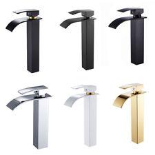 Modern Waterfall Basin Sink Mixer Tall Tap Bathroom Counter Chrome Mono Taps