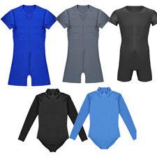 Men Bodysuit Front Zipper Leotard Jumpsuit Wrestling Singlet Lingerie Underwear