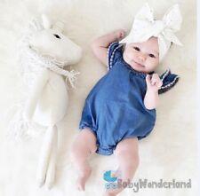 Baby Girls Denim Cotton Flare Sleeves Romper Top Size 0-3Year