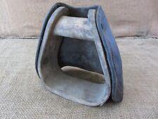 Vintage Wood & Leather Stirrup > Harness Antique Bridles Bit Horse Wagon 6764