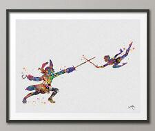 Peter Pan & Captain Hook Watercolor For Boys Painting Print Wedding Gift Nursery