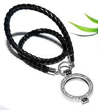COIN MEDAILLON Kette +++ Anhänger Strass Münze Halskette schwarz silber Halsband