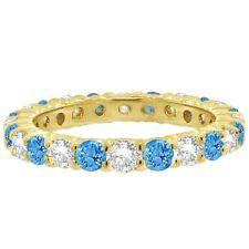 1CT Blue Topaz & Diamond Eternity Ring 14K Yellow Gold