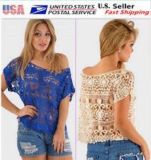 LADY Lace Floral Sleeveless Crochet Knit Vintage Women Vest Tank Top Beach 008c