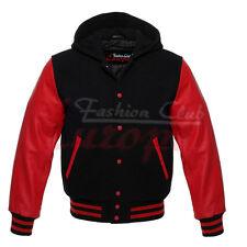 VARSITY HOODIE Genuine Leather Sleeve Letterman College Varsity Men Wool Jacket