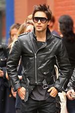 Jared Leto Sucide Squad's Hero Men's Slim Fit Motorcycle Biker Leather Jacket