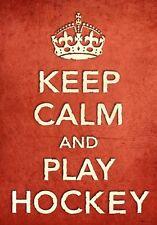 Cr2 De Estilo Vintage Rojo Keep Calm Jugar Hockey Deporte Funny cartel impresión a2/a3/a4