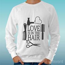 Felpa Uomo Bianco Love Is In The Hair Parrucchieri Idea Regalo