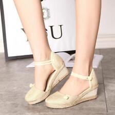 Ladies Wome's  Mid Heel Platform Flatform Ankle Strap Wedge Shoe Sandal Size_