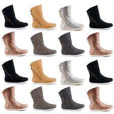 Neu Damen Schlupf Stiefel Flache Stiefeletten Boots Warm Gefüttert 1583 Schuhe