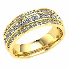 Genuine 1.05ctw Round Cut Diamond Ladies Three Row Half Eternity Ring 10k Gold