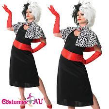 Ladies Cruella De Ville Vil Costume 101 Dalmations Evil Madame Fancy Dress Wigs