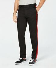 Calvin Klein Men's Chino Pants Slim Fit Black & Red Side Stripe