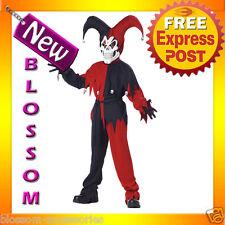 CK92 Evil Jester Black Red Mardi Gras Boys Child Halloween Fancy Dress Costume