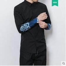 e90f3f047f3 Китайский стиль вышивка повседневная рубашка новые мужские тонкие платье- рубашка с длинным рукавом  BT02