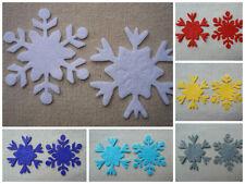 FELT x12 SNOWFLAKES 5cm die cut Christmas Ornaments Appliqués...ASSORTED COLOURS