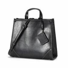 Fashion Women Split Cow Leather Messenger Shoulder Bag Handbag Tote Strap Black