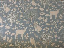 Bosque De Invierno animales Fox Stag con dibujo de búho piedra Azul Algodón Cortina/Tela Artesanal