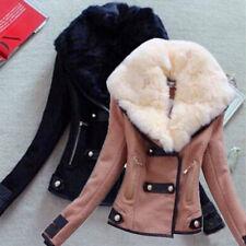 Warm Women Button Short Coat Warm Faux Fur Collar Jacket Winter Woolen Outwear