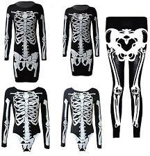 Nuevo Damas Traje de Cuerpo Esqueleto Halloween Mujeres Legging Midi Vestido Túnica 8-26