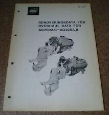 Daten für Motorenüberholung Volvo Penta AQ 200 A, B 74