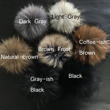 Fluffy 15cm Big Real Raccoon Fur Pom Pom Ball w Snap Button DIY Cap Beanie Hat