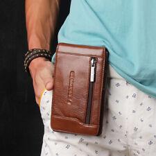 Men Genuine Leather Cell/Mobile Phone Case Hook Bag Hip Belt Fanny Waist Pack