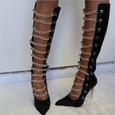 Sexy women pointy toe stiletto chain hollow out knee high shoe nightclub plus SZ
