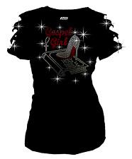 Bling Bling Gospel Girl Bible Christian RHINESTONE T-Shirt Ripped Cut Out S~ 3XL