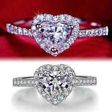 9K 9CT WHITE GOLD GF WOMEN HEART lab DIAMOND ENGAGEMENT WEDDING SOLID DRESS RING