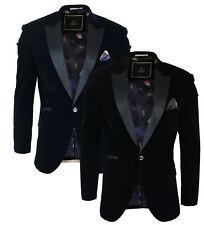 Men Soft Velvet Black Navy 1 Button Dinner Jacket Tuxedo Blazer Smart Casual Fit