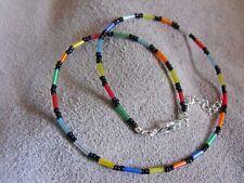 "14"" - 22"" glass beaded collar choker necklace RAINBOW GLASS SEED BEAD"