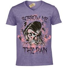 Borrow me the pain T-Shirt emo skull Mens V-Neck