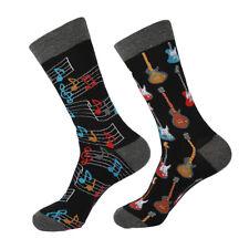 Mens novelty crew trouser dress socks MUSIC GUITAR black