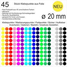 45 Stück Klebepunkte aus Folie glänzend rund 20mm Aufkleber Sticker Inventur NEU