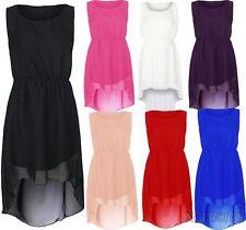 New Womens Plus Size Chiffon Drop Hem Dress Dip Hem Party Dresses 16-26