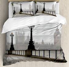 London Duvet Cover Set with Pillow Shams Westminster Tower Bridge Print