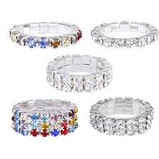 Women Bridal Wedding Silver Crystal Diamante 1/2/3 Row Elastic Stretch Toe Ring